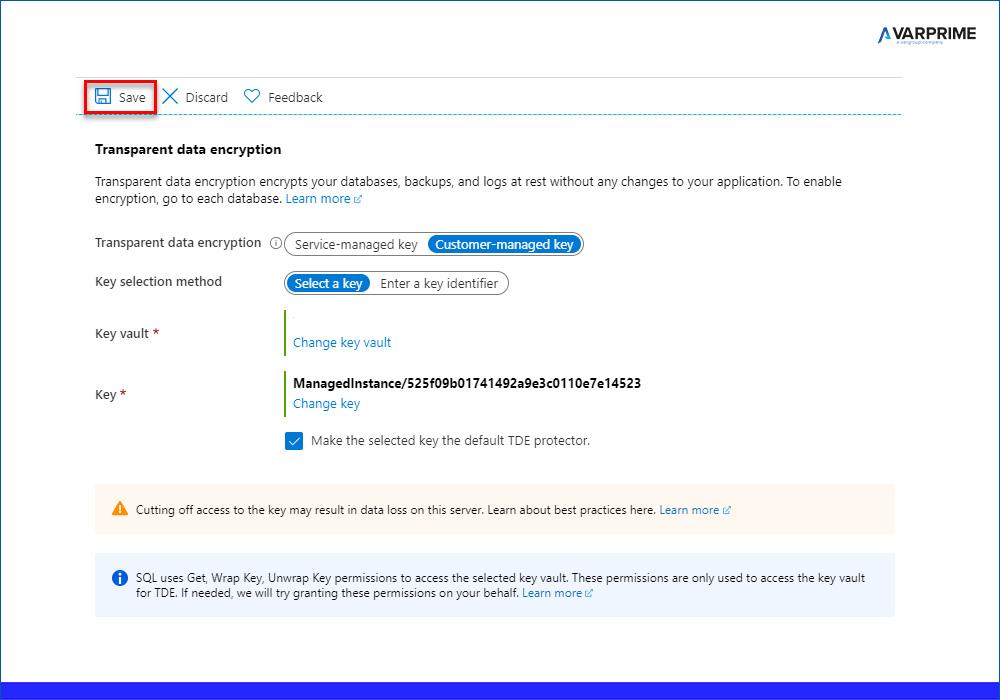 SQL Azure Managed Istance - Applicazione Key Key