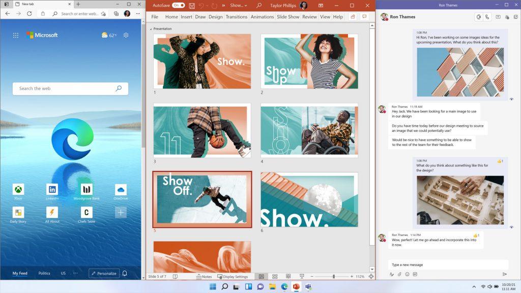 Windows 11 - Layout tre colonne